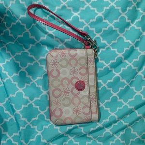 cute pink and white floral coach wristlet